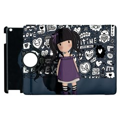Dolly Girl In Purple Apple Ipad 3/4 Flip 360 Case by Valentinaart