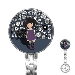Dolly Girl In Purple Stainless Steel Nurses Watch by Valentinaart