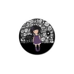 Dolly Girl In Purple Golf Ball Marker by Valentinaart