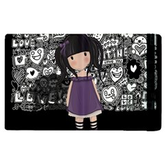 Dolly Girl In Purple Apple Ipad 3/4 Flip Case by Valentinaart