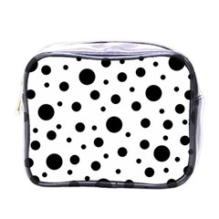 Black On White Polka Dot Pattern Mini Toiletries Bags by LoolyElzayat