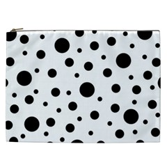 Black On White Polka Dot Pattern Cosmetic Bag (xxl)