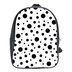 Black On White Polka Dot Pattern School Bag (xl)