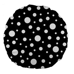 White On Black Polka Dot Pattern Large 18  Premium Flano Round Cushions by LoolyElzayat