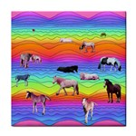 Horses in Rainbow Tile Coasters