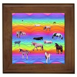 Horses in Rainbow Framed Tiles