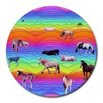 Horses in Rainbow Round Mousepads
