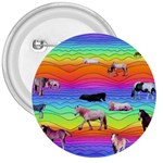 Horses in Rainbow 3  Buttons