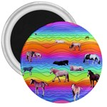 Horses in Rainbow 3  Magnets
