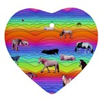 Horses in Rainbow Ornament (Heart)