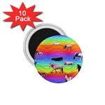 Horses in Rainbow 1.75  Magnets (10 pack)