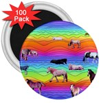 Horses in Rainbow 3  Magnets (100 pack)