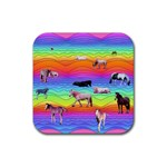 Horses in Rainbow Rubber Square Coaster (4 pack)