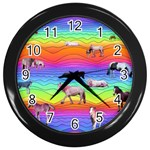 Horses in Rainbow Wall Clocks (Black)