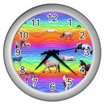Horses in Rainbow Wall Clocks (Silver)