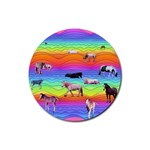 Horses in Rainbow Rubber Round Coaster (4 pack)