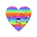Horses in Rainbow Heart Magnet