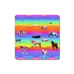 Horses in Rainbow Square Magnet