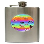 Horses in Rainbow Hip Flask (6 oz)