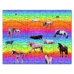 Horses in Rainbow Rectangular Jigsaw Puzzl