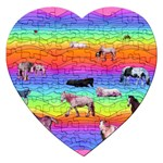 Horses in Rainbow Jigsaw Puzzle (Heart)