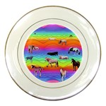 Horses in Rainbow Porcelain Plates