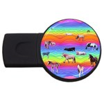 Horses in Rainbow USB Flash Drive Round (4 GB)
