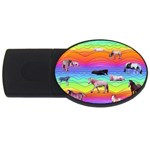 Horses in Rainbow USB Flash Drive Oval (4 GB)