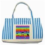 Horses in Rainbow Striped Blue Tote Bag