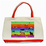 Horses in Rainbow Classic Tote Bag (Red)