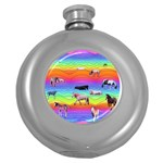 Horses in Rainbow Round Hip Flask (5 oz)