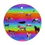 Horses in Rainbow Round Ornament (Two Sides)
