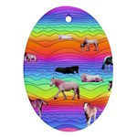 Horses in Rainbow Oval Ornament (Two Sides)