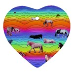 Horses in Rainbow Heart Ornament (Two Sides)