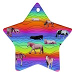 Horses in Rainbow Star Ornament (Two Sides)