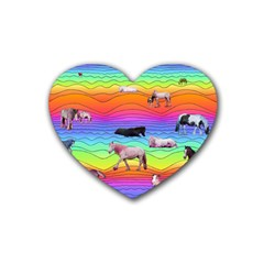 Horses In Rainbow Rubber Coaster (heart)  by CosmicEsoteric