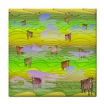 Cows and Clouds in the Green Fields Tile Coasters