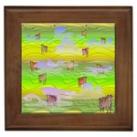 Cows and Clouds in the Green Fields Framed Tiles