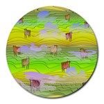 Cows and Clouds in the Green Fields Round Mousepads