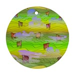 Cows and Clouds in the Green Fields Ornament (Round)
