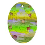 Cows and Clouds in the Green Fields Ornament (Oval)