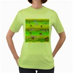 Cows and Clouds in the Green Fields Women s Green T-Shirt