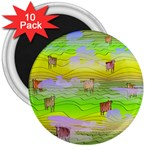 Cows and Clouds in the Green Fields 3  Magnets (10 pack)