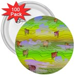 Cows and Clouds in the Green Fields 3  Buttons (100 pack)