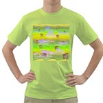 Cows and Clouds in the Green Fields Green T-Shirt