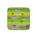 Cows and Clouds in the Green Fields Rubber Square Coaster (4 pack)