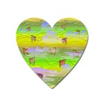 Cows and Clouds in the Green Fields Heart Magnet