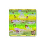 Cows and Clouds in the Green Fields Square Magnet