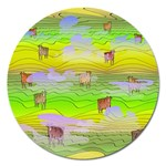 Cows and Clouds in the Green Fields Magnet 5  (Round)