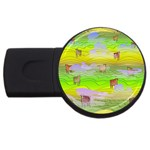 Cows and Clouds in the Green Fields USB Flash Drive Round (2 GB)